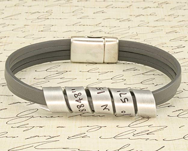 anniversary gift bracelet with GPS coordinates