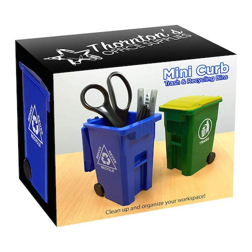 desk organizer trash can for office gift