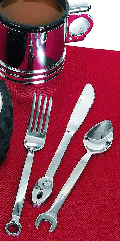 flatware with tools as handles