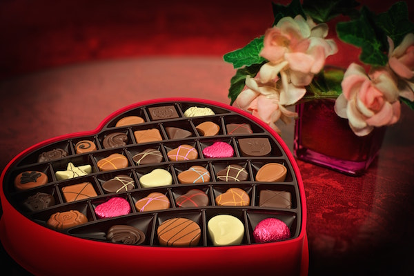 chocolates, flowers, and other valentines day gifts